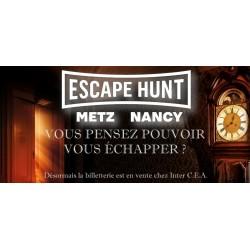 Escape hunt nancy-metz. valable pour une salle de 4 à 5 joueurs